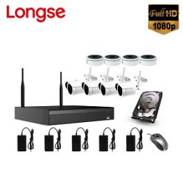 Kit Full 4 Cámaras IP Wifi Longse, 2MP (Full HD)