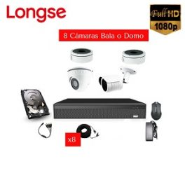 Kit Full 8 Cámaras Tipo Domo o Bala Análogo Longse, 2MP (Full HD)