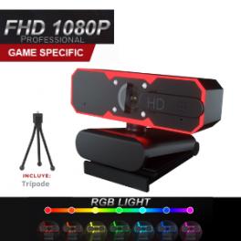 Webcam Gamer Profesional Full HD 1080P, Micrófono y Luces RGB Incorporado