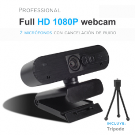 Webcam Profesional Full HD 1080P con 2 Micrófonos incorporados