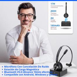 Auricular con Micrófono Manos Libre Bluetooth V5.0 Profesional y Estación de carga rápida