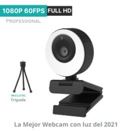Webcam Profesional Full HD 1080P 60 fps, Micrófono y Aro de Luz Incorporado